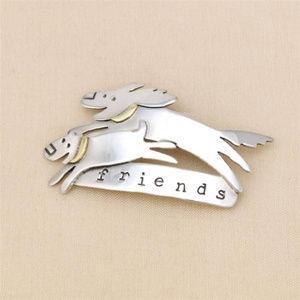 Jewelry - Doggy Friends Pin in Silver & Brass
